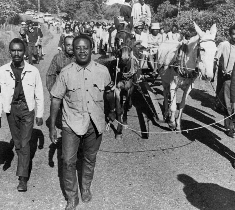 The Rev. Ralph Abernathy led a mule-drawn wagon at the head of Martin Luther King's last campaign.