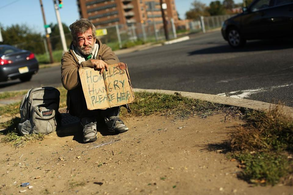 The plight of a homeless man in Camden, N.J., highlights the state of the economy.