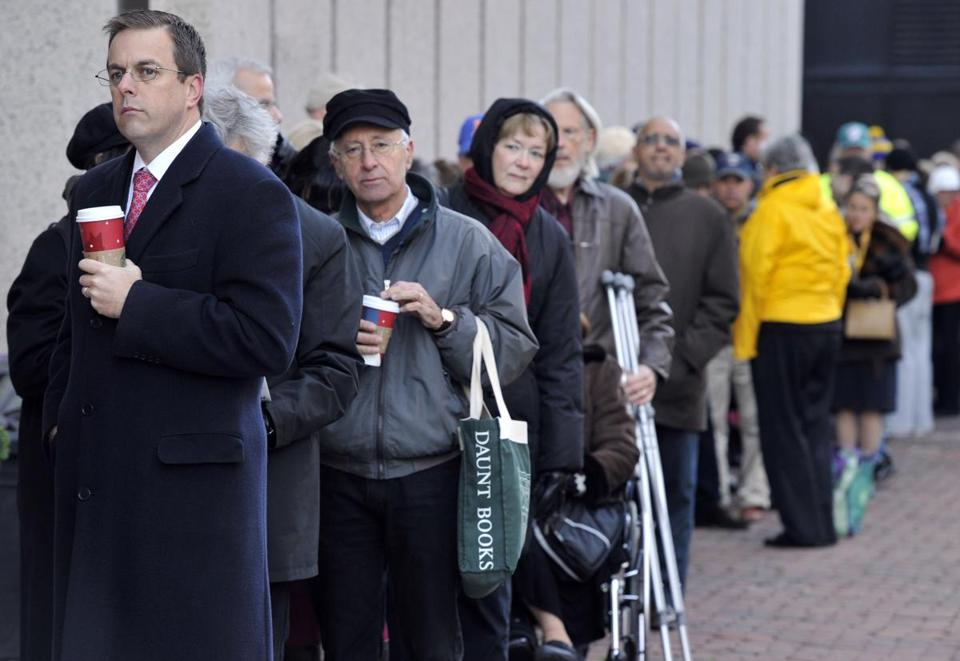Voters lined up to cast their ballots at the Boston Public Library on Tuesday.
