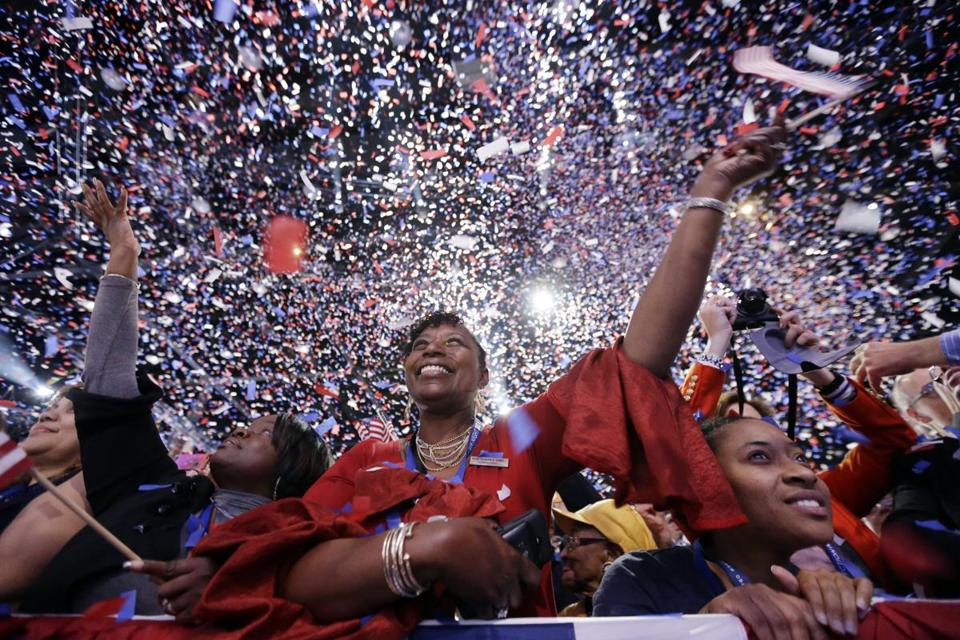 Supporters cheered at President Obama victory speech in Chicago.