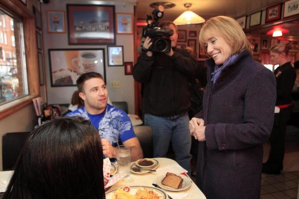 Maggie Hassan, whom New Hampshire voters elected as governor on Tuesday, spoke with diners in Manchester.