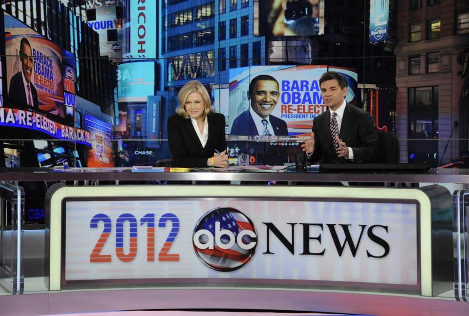 Diane Sawyer and George Stephanopoulos anchored election night coverage on ABC.