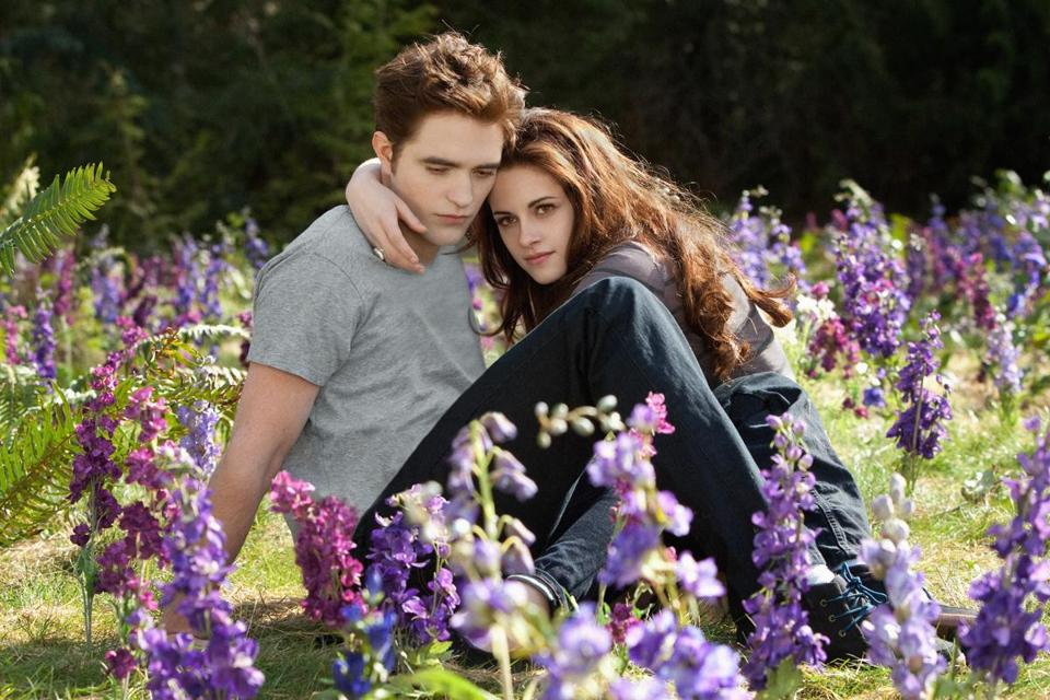 "Robert Pattinson and Kristen Stewart in the 2012 film ""The Twilight Saga: Breaking Dawn - Part 2."""