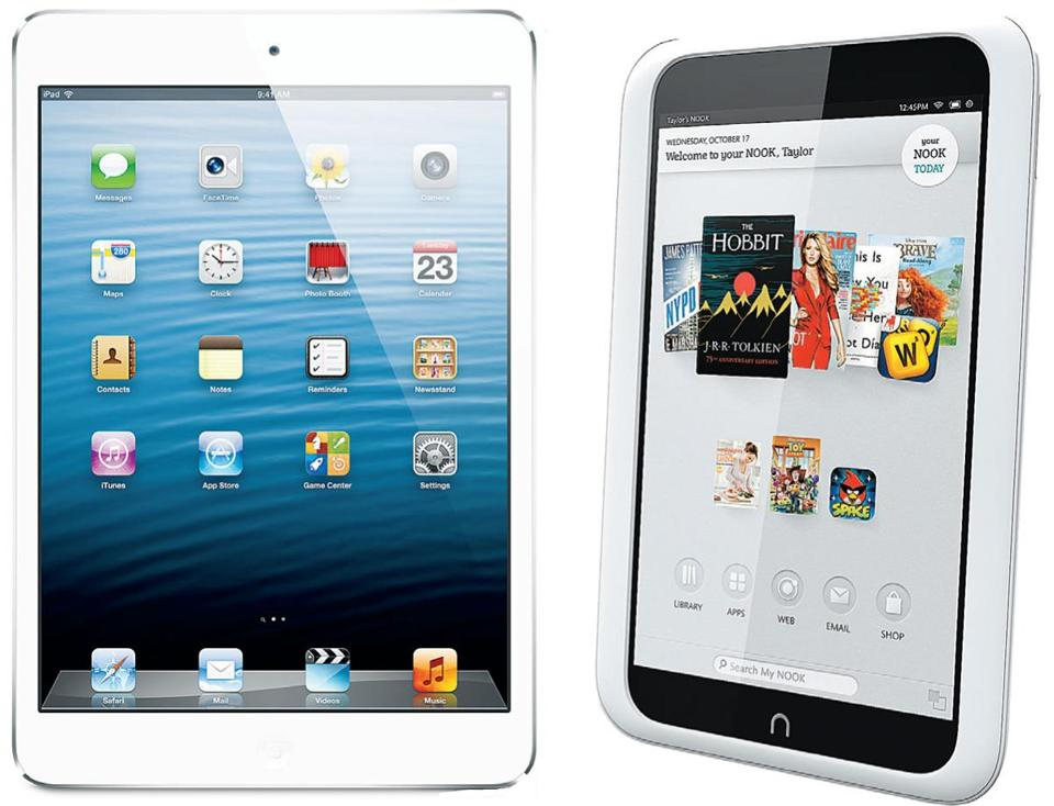 The iPad mini (left) and Nook HD tablets.