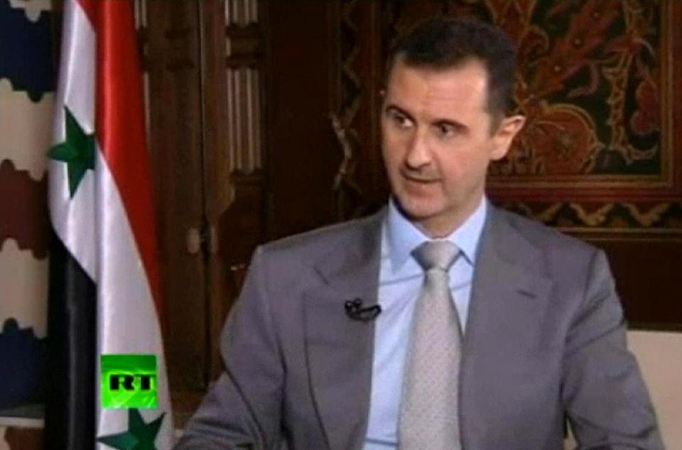 In this image made from video, Syrian President Bashar Assad spoke on a Russian television show.