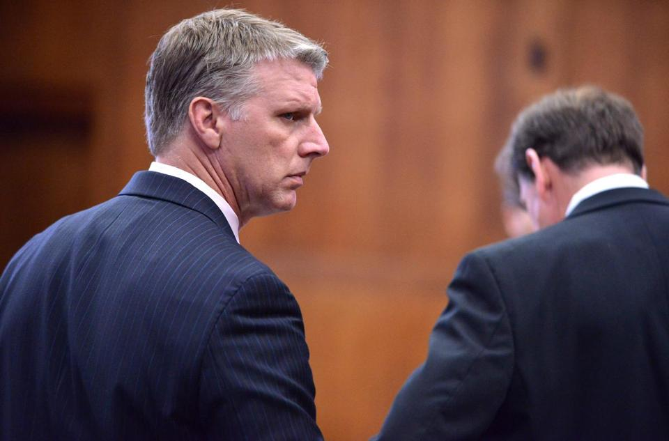 Former Massachusetts treasurer Timothy Cahill (left) stood beside his attorney, Brad Bailey, before the start of his trial on public corruption charges.