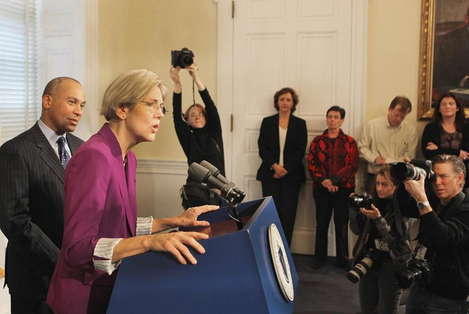 Senator-elect Elizabeth Warren and Governor Deval Patrick held a press conference at the State House Thursday.