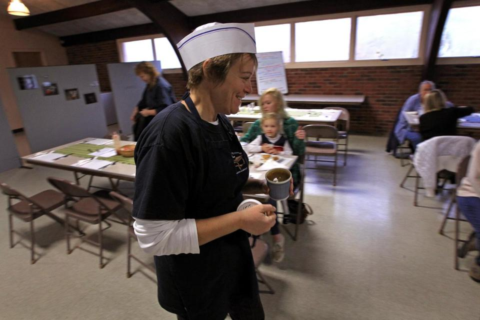 All Are Welcome Community Kitchen and Bakery founder Karen Cook at Church of Our Saviour in Middleborough, where the organization offers two meals a week.