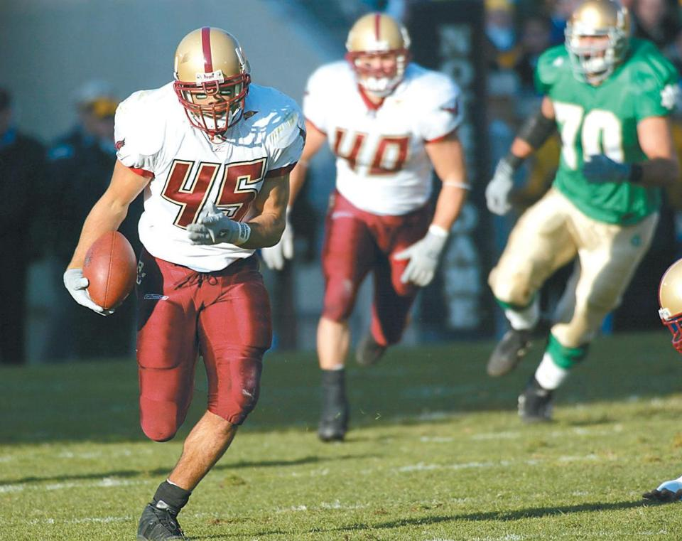 "Josh Ott's 71-yard interception return for a TD propelled BC to a 14-7 victory over Notre Dame in ""The Holy War"" of 2002."