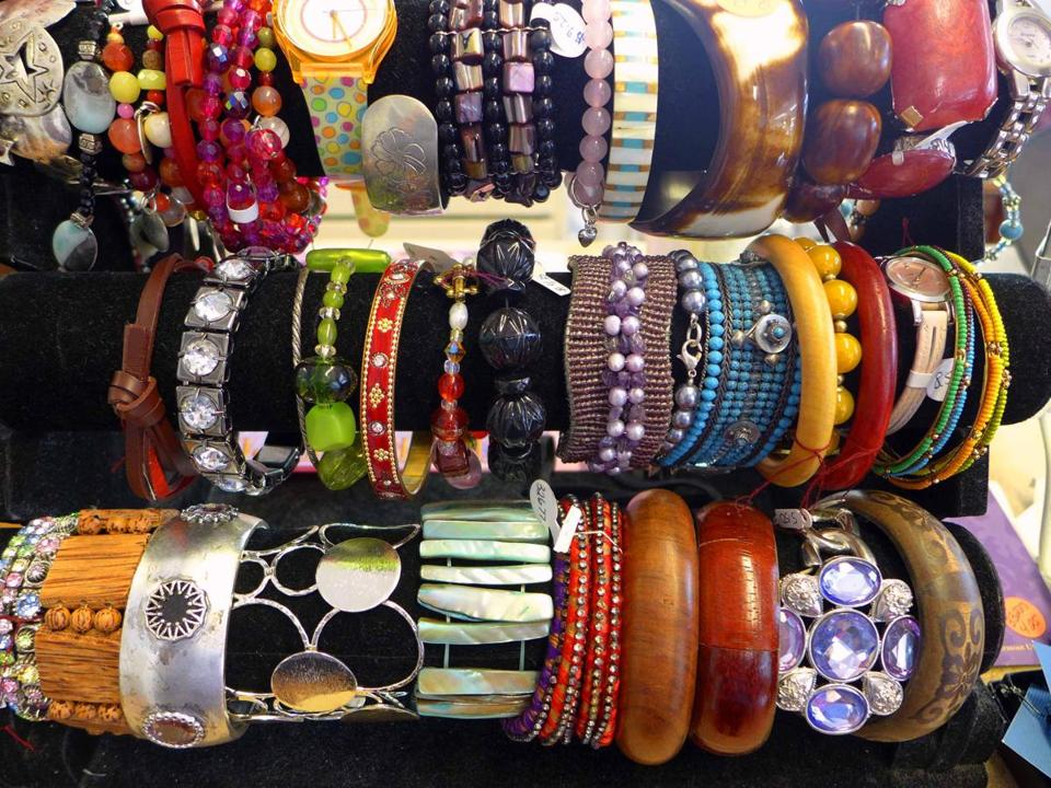 Bracelets are only one category of the jewelry at Chameleons Consignment Loft on Main Street. The shop was opened last year by a new college grad and her mother.