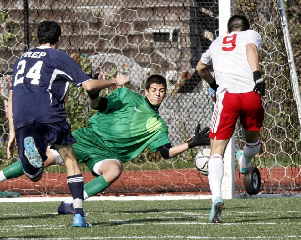 Felix De Bona sent this strike past Ben Alpern for the only goal of Somerville's win against St. John's Prep.
