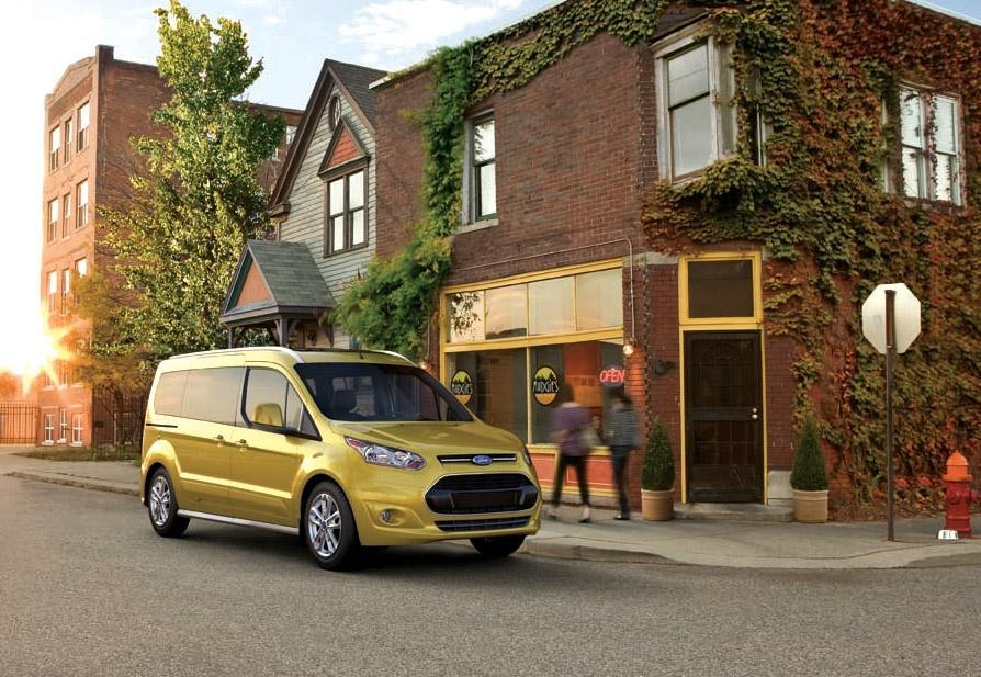 The exterior of Ford's Transit Connect Wagon has the tapered nose and trapezoid grill of Ford's cars.