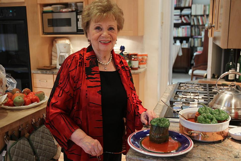"Eva Bonis with stuffed green peppers from her ""New Hungarian Cuisine: Traditional & Contemporary Favorites."""