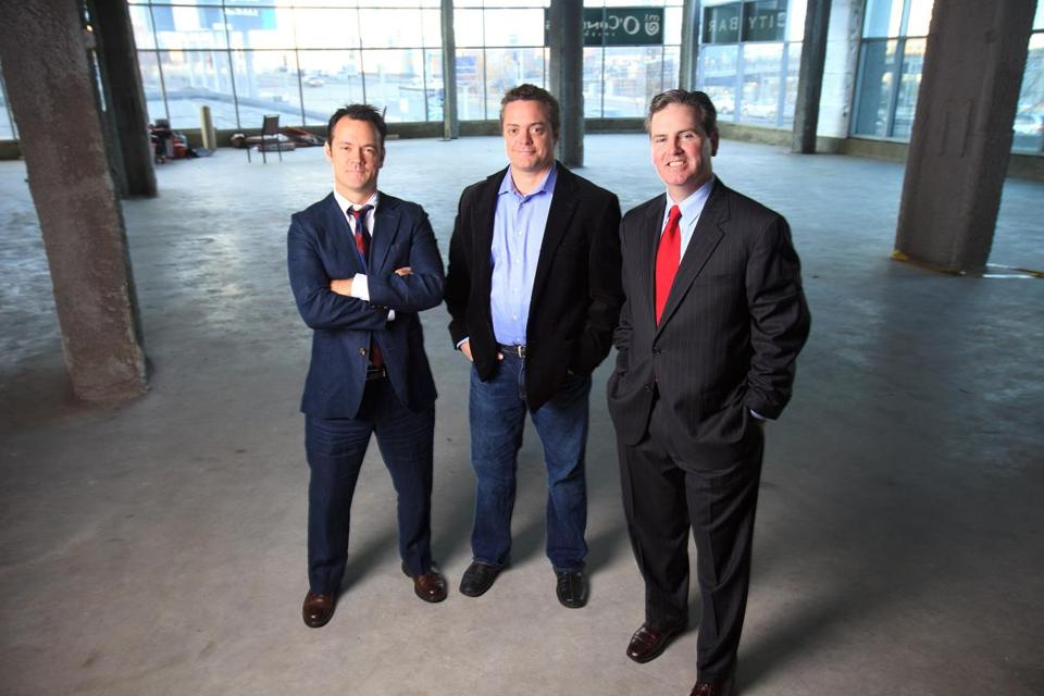 From left, Norm Laviolette, Chet Harding, and John Tobin are opening a new comedy club in a space attached to the Westin Boston Waterfront Hotel in South Boston.