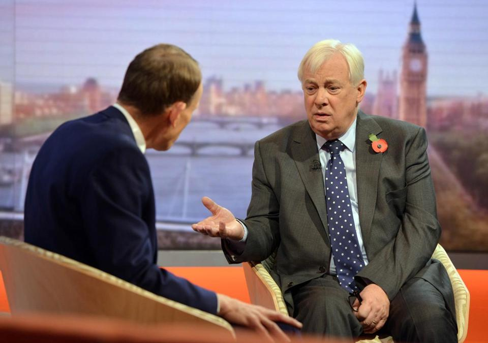 "LONDON - NOVEMBER 11: (NO SALE/NO ARCHIVE) In this handout image provided by the BBC, chairman of the BBC Trust Chris Patten is interviewed on the Andrew Marr show on November 11, 2012 in London, England. (Photo by Jeff Overs/BBC via Getty Images) Warning: Use of this copyright image is subject to Terms of Use of BBC Digital Picture Service. In particular, this image may only be used during the publicity period for the purpose of publicising ""Andrew Marr Show"" and provided the BBC is credited."