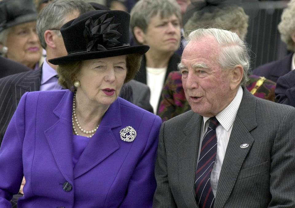 Sir Rex Hunt with the former prime minister of Britain, Margaret Thatcher, in 2002.