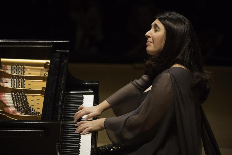 Simone Dinnerstein performing at Symphony Hall on Monday night.