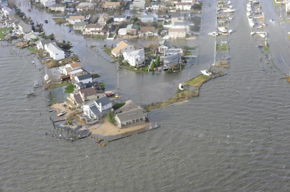 A Coast Guard aerial photo shows damage from Sandy in a coastal section of New Haven.