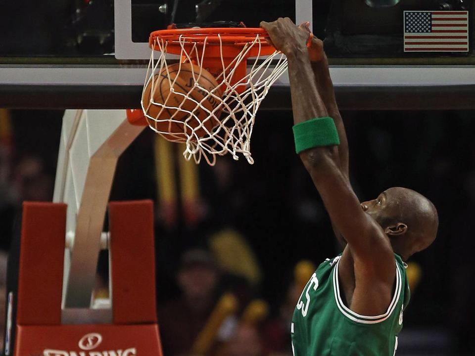 Kevin Garnett scored 15 points — none easier than this late dunk — as Boston earned its third road win in four games.