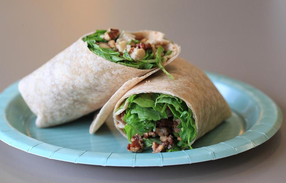 At Cravings Cafe: cranberry pecan chicken salad wrap.