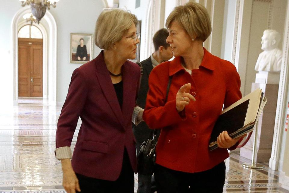 Senator-elect Elizabeth Warren and her Wisconsin counterpart, Tammy Baldwin, walked to a freshman luncheon in the Capitol on Tuesday.