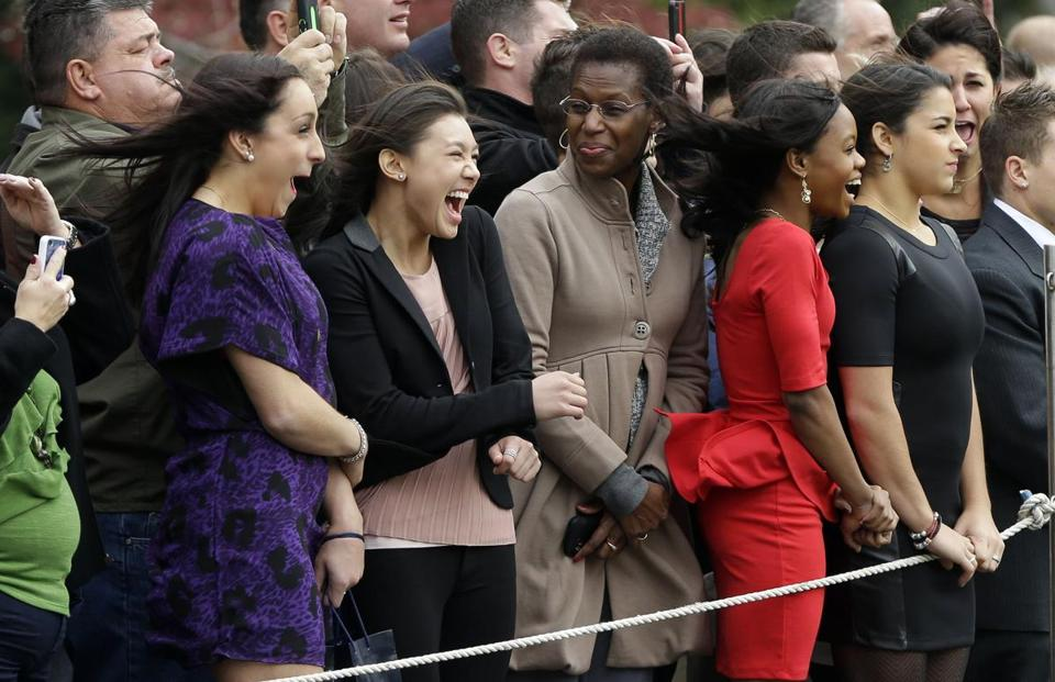 From left: London Olympics gold-medal gymnasts Jordyn Wieber, Kyla Ross, Gabby Douglas, and Aly Raisman outside the White House.