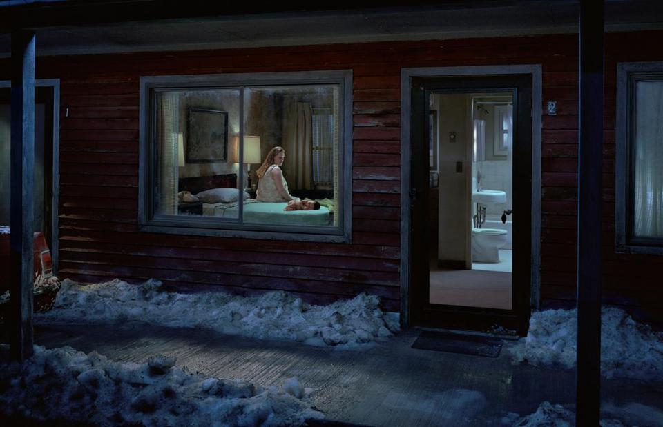 """Untitled (Birth)"" from ""Beneath the Roses,"" the body of photographs in ""Gregory Crewdson: Brief Encounters."""