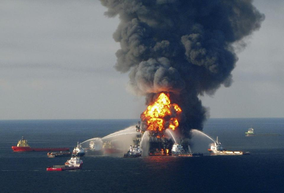Fire crews battled flames after the explosion of the offshore oil rig Deepwater Horizon in April 2010, off the coast of Louisiana.