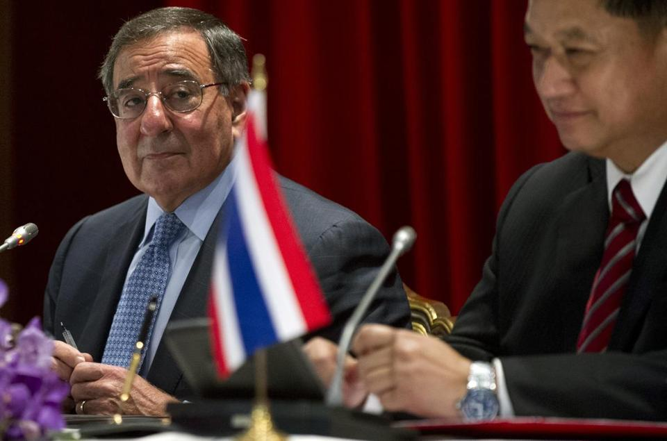 US Secretary of Defense Leon Panetta (left) at a joint press conference with this Thai counterpart Sukampol Suwannathat.