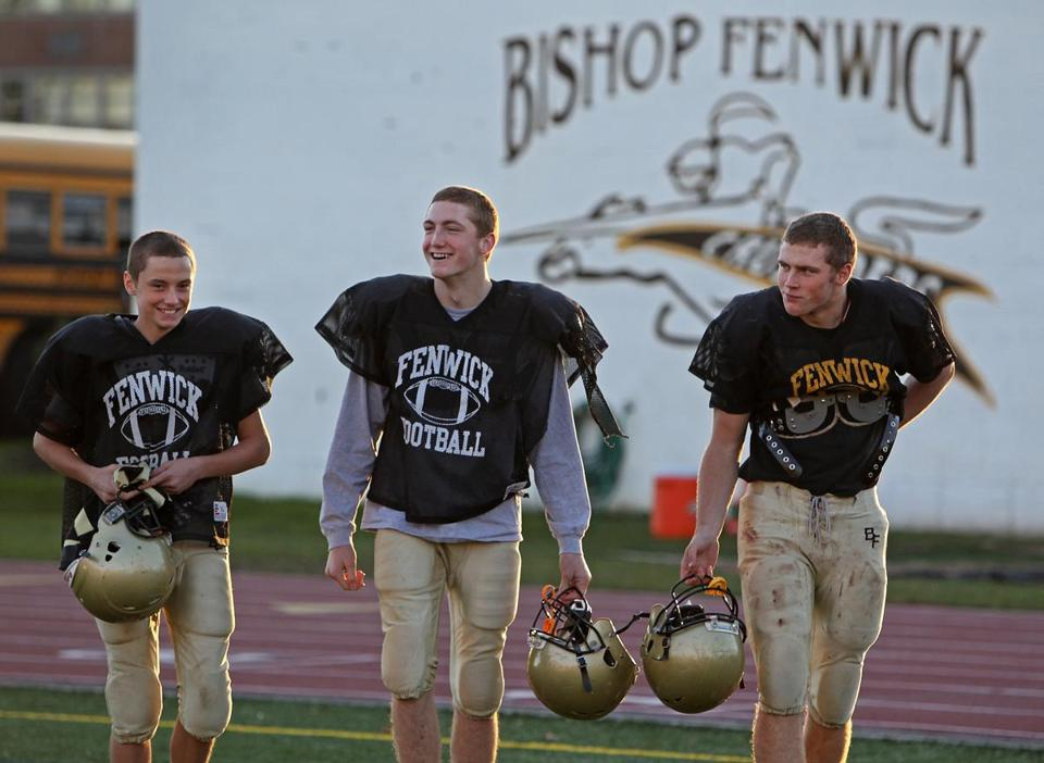 Brothers Fran, Kevin, and Dan Hannon (from left to right) are a solid core for Bishop Fenwick football.