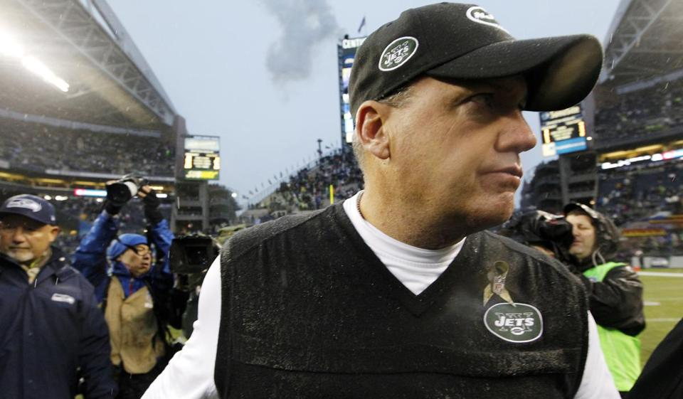 "An angry Jets coach Rex Ryan said criticizing teammates anonymously is ""about as cowardly of a thing there is."""