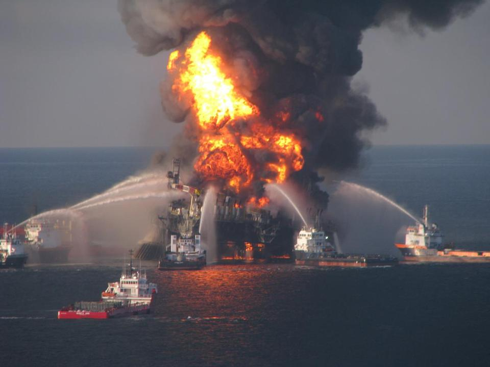 Fireboat crews battled the blazing remnants of the Deepwater Horizon oil rig, which exploded in 2010.