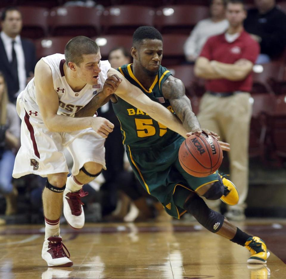 BC's Joe Rahon tries to slow down Baylor guard Pierre Jackson, but to no avail. Jackson had 31 points and seven assists for the 16th-ranked Bears.