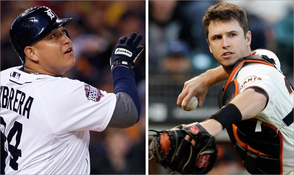 San Francisco's Buster Posey (left) was the first catcher in four decades named NL MVP. A Triple Crown season for Detroit's Miguel Cabrera paved the way for his latest honor.