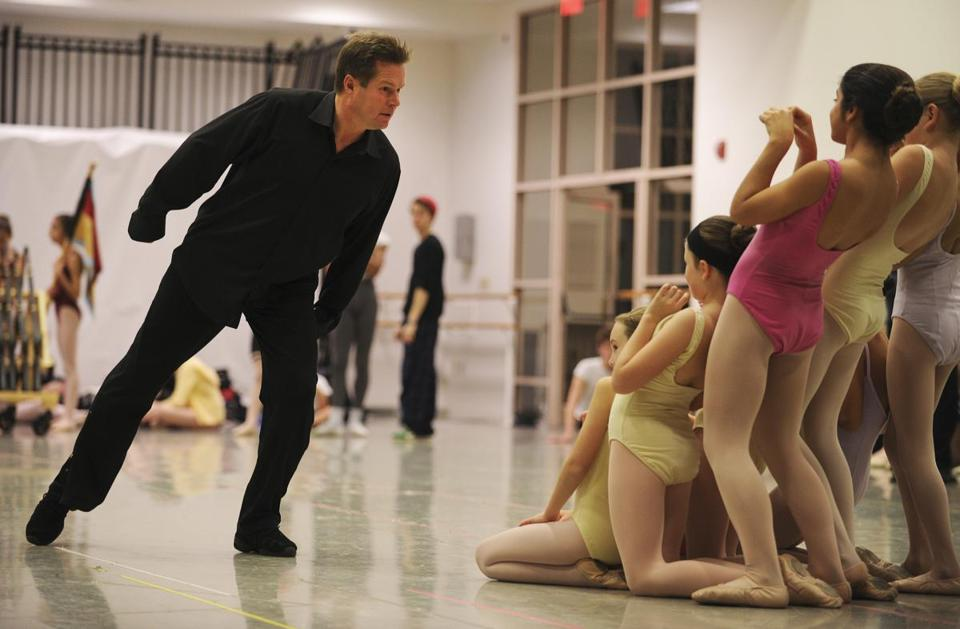 Boston Ballet artistic director Mikko Nissinen showed young dancers the reaction he expects from them as he ran through the actions of the Mouse King.