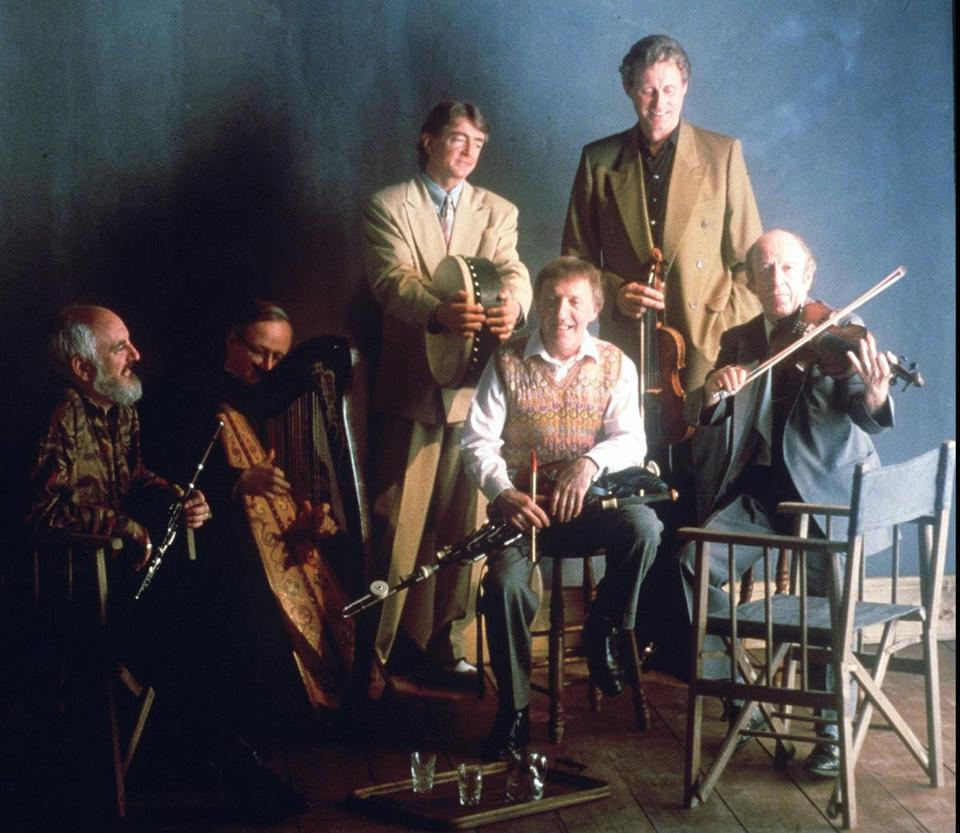 The Chieftains in 1996 featured (from left) Matt Molloy, Derek Bell, Kevin Conneff, Paddy Moloney, Sean Keane, and Martin Fay. Moloney and Fay were original members.