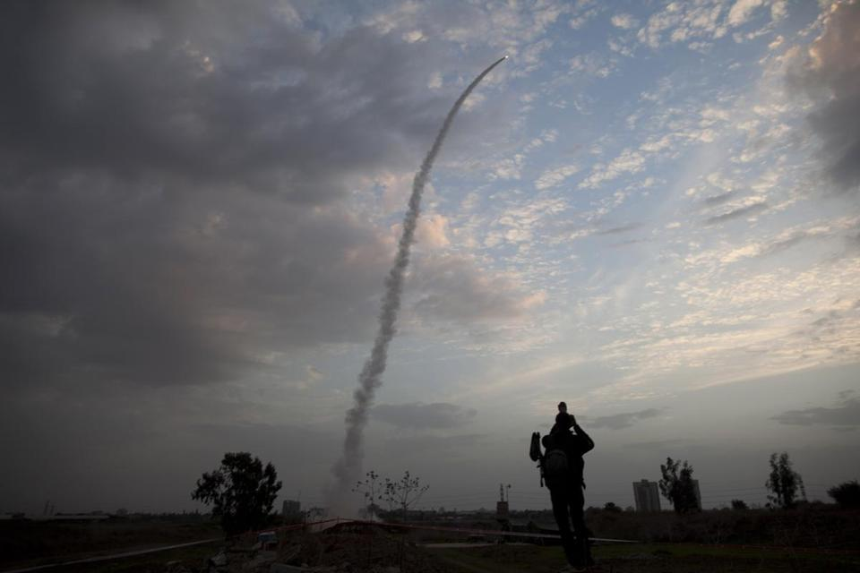 An Iron Dome missile is launched in Tel Aviv, to intercept a rocket fired from Gaza Saturday.