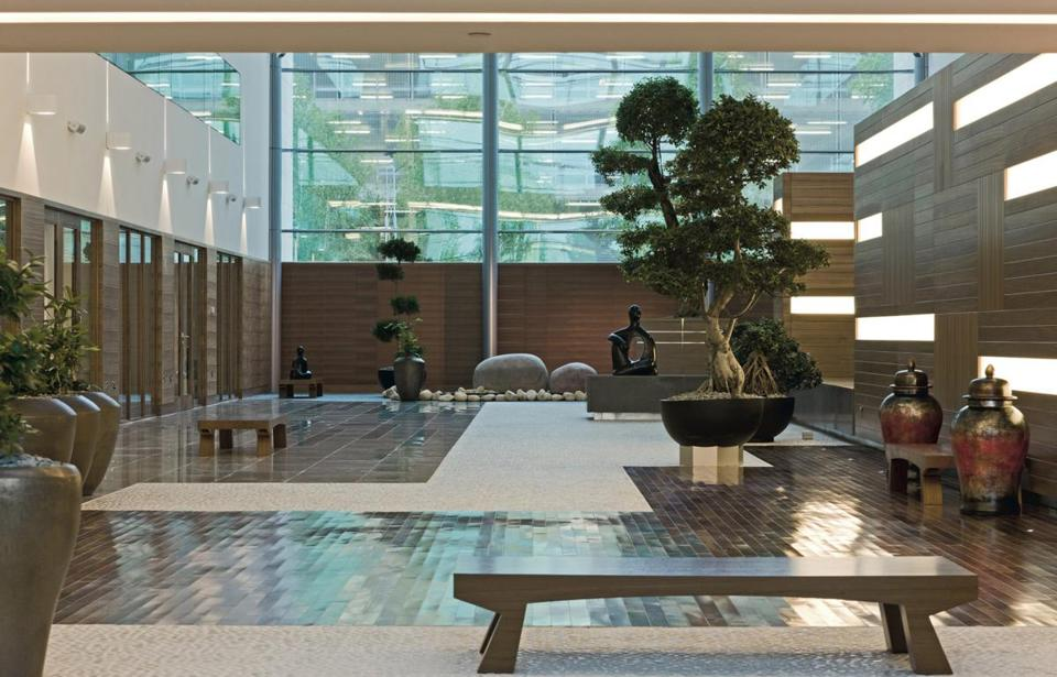 The zen garden at the Sofitel London Heathrow is one of several relaxation venues.