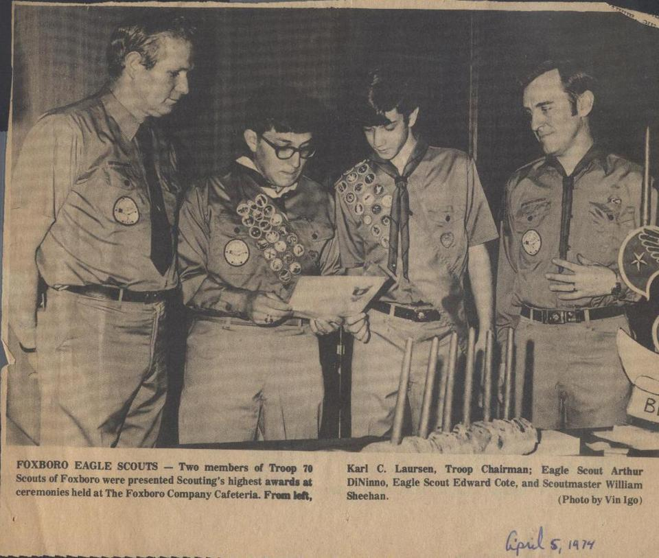 Sheehan, at far right, with Eagle Scouts and an official from Troop 70 in 1974.