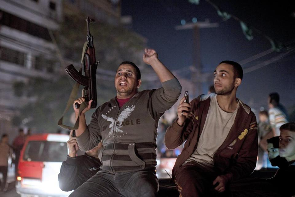 Palestinians celebrated a cease-fire agreement in Gaza City.