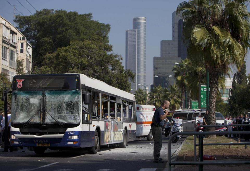 The bus exploded about noon on one of the coastal city's busiest arteries, near the Tel Aviv museum and across from an entrance to Israel's national defense headquarters.