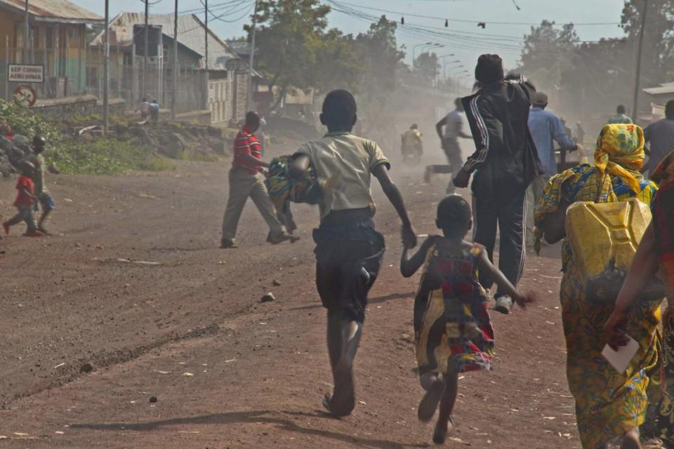 Residents fled near Goma's airport as M23 rebels and Congolese Army soldiers battled.