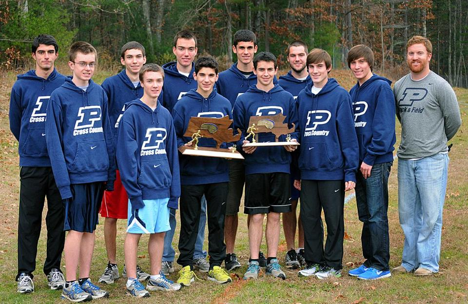 The Pembroke High School cross-country team, from left: Pete Graceffa, Alex Bowler, Patrick Cunningham, Philip Martin, Mike McMahon, John Valeri, Lucas Tocher, Addison Fine, Chris Warren, Billy Stafford, Christian Stafford, and coach Greg Zopatti.