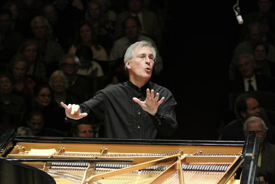Christian Zacharias conducting the BSO Friday at Symphony Hall.