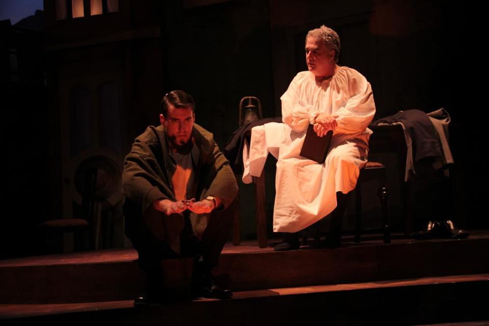 "Mark Linehan (left) as George Bailey and William Gardiner as his guardian angel in the Stoneham Theatre production of ""It's a Wonderful Life."""
