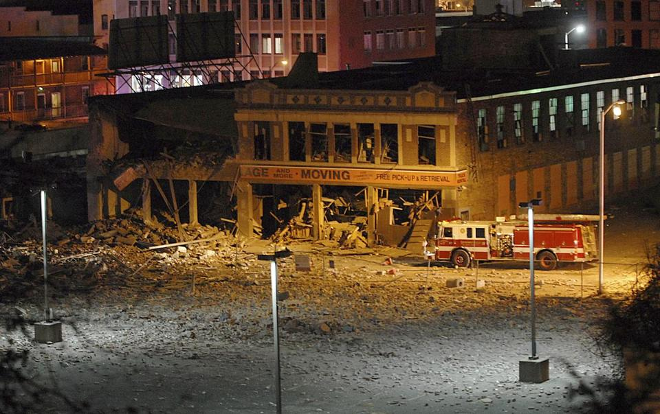 A natural gas explosion rocked downtown Springfield Friday, injuring at least 18 people after leveling a downtown strip club, officials said. Two nearby buildings were also heavily damaged.