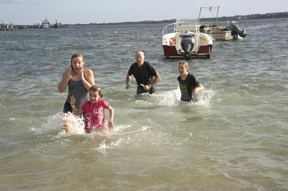 Vice President Joe Biden and some of his family participate in the Cold Turkey Plunge benefit.