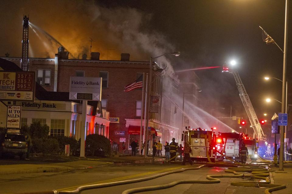 Firefighters battled the blaze on Main Street in Leominster.