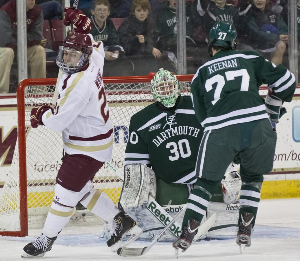 BC's Steven Whitney rejoices after stuffing one past Dartmouth goalie Charles Grant.