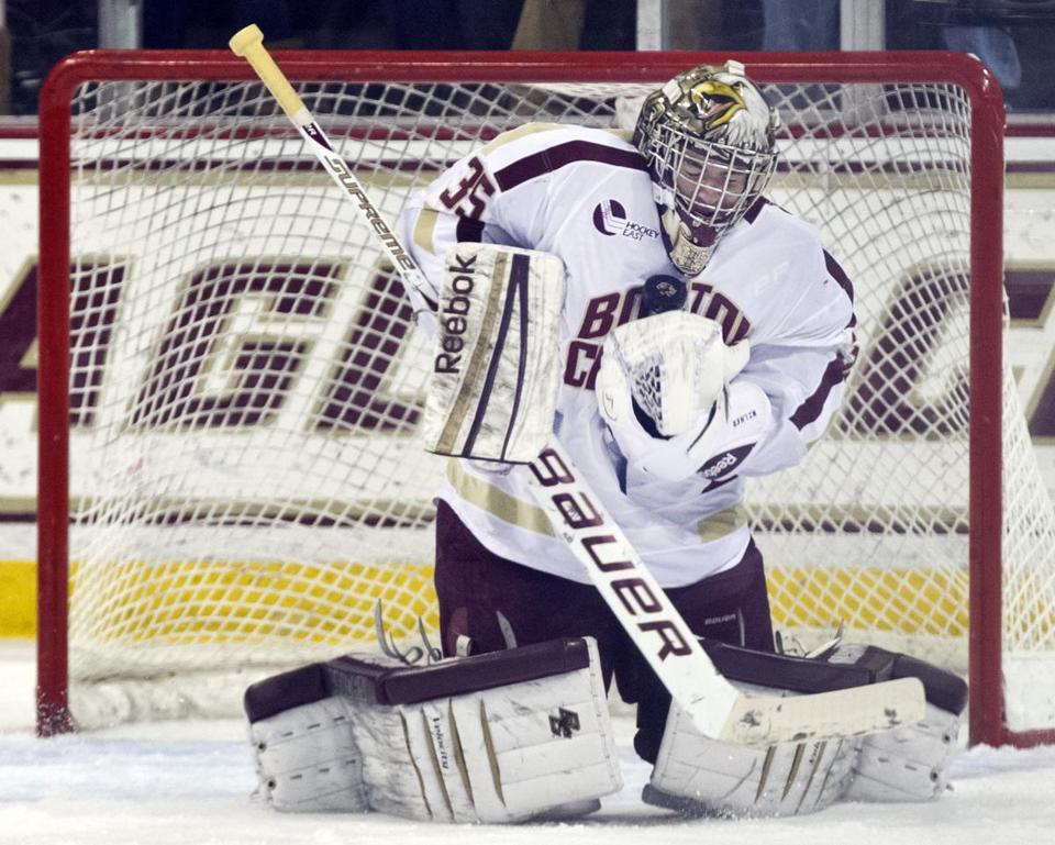 Senior goaltender Parker Milner has picked up right where he left off when he led the Eagles to 19 straight victories en route to the NCAA championship